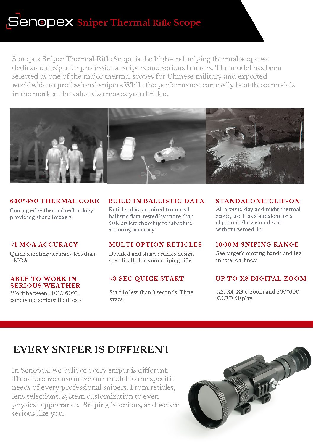 Senopex Military Sniper Thermal Scope, Rugged and Lightweight